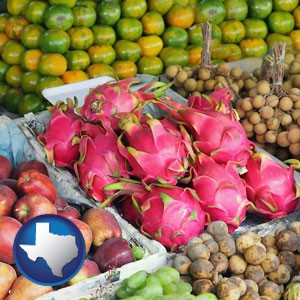an ethnic fruit market display - with Texas icon