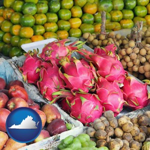 an ethnic fruit market display - with Virginia icon